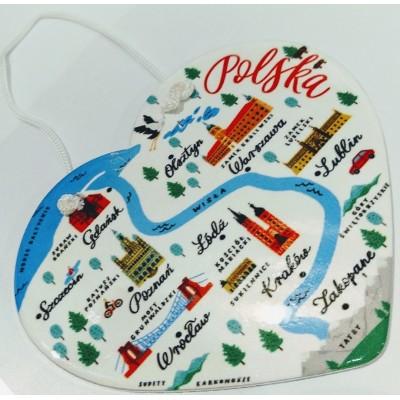 """Ceramic heart """"Poland"""""""
