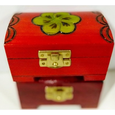 Small, wooden chest with a...