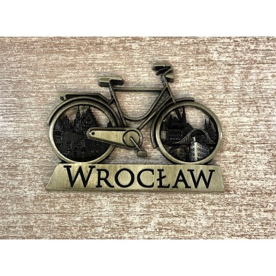 Magnet Wrocław - gold bicycle