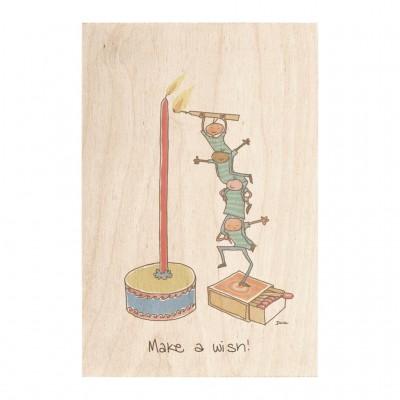 Wooden card - make a wish!