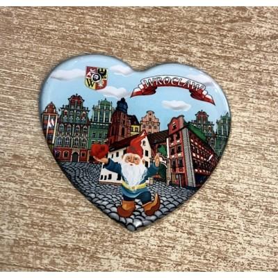 "Magnet ""Wrocław- dwarf, heart"""