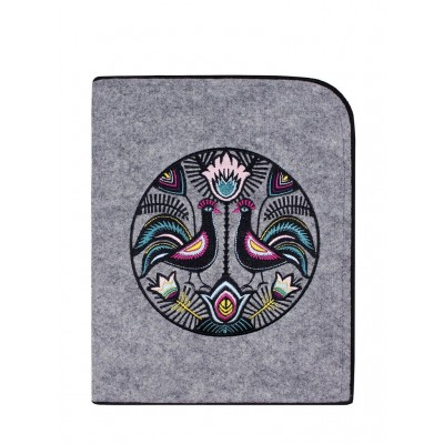 Gray tablet case with roosters
