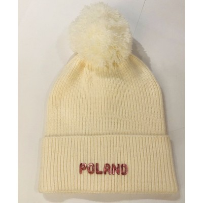 """Czapka z pomponem """"Poland""""..."""