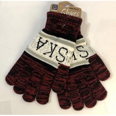 """Winter gloves """"Poland"""" claret"""